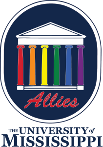ALLIES logo with rainbow colored columns on the Lyceum